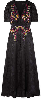 Saloni Lea Embroidered Silk-satin Jacquard Maxi Dress - Black