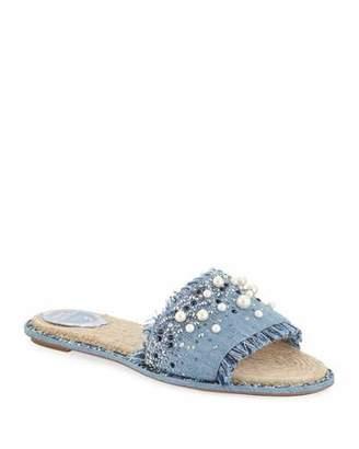 Rene Caovilla Fringed Denim Slide Sandals