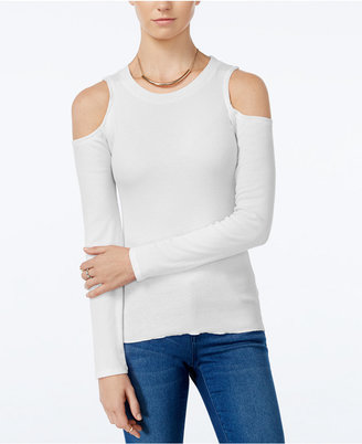 Planet Gold Juniors' Rib-Knit Cold-Shoulder Top $24 thestylecure.com