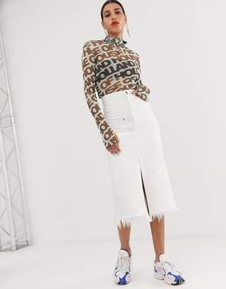 f5529e51 House of Holland white denim midi skirt