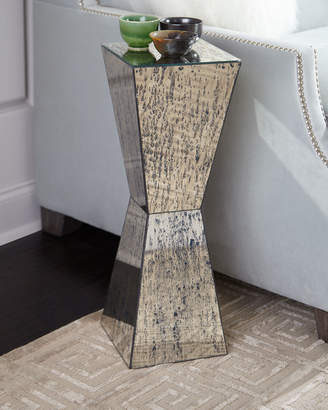 John-Richard Collection Geometric Antiqued Mirror Martini Table