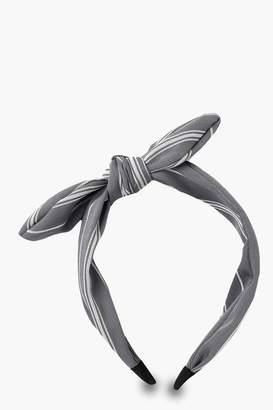 boohoo Linen Look Stripe Bow Headband
