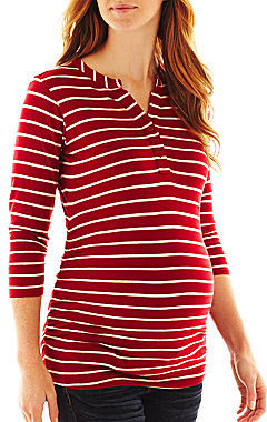 JCPenney Asstd National Brand Maternity Striped Henley