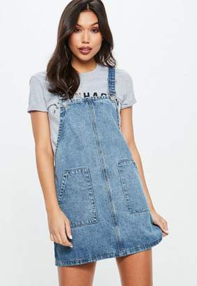 Missguided Blue Denim Pinafore Dress