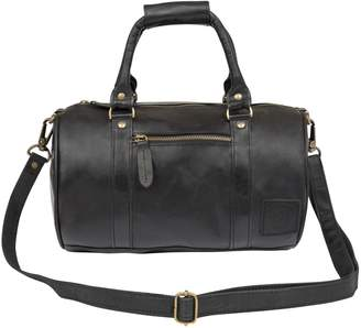 MAHI Leather - Mini Duffle Handbag in Black Leather