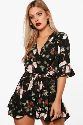 boohoo Plus Oriental Wrap Playsuit