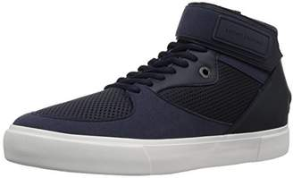 Armani Exchange A|X Men's High Top Ankle Strap and Mesh Detail Sneaker
