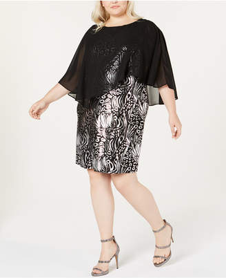 NY Collection Plus Size Metallic Jacquard Cape Dress, Also Available in Petite Plus Size