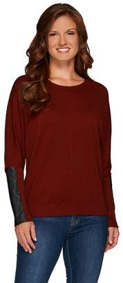 Lisa Rinna Collection Sweater with Faux Leather Detail