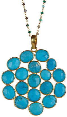 Forever Creations USA Inc. Forever Creations 18K Over Silver 70.00 Ct. Tw. Natural Turquoise 30In Necklace