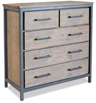Free Delivery At Apt2b Lofton 5 Drawer Chest Acacia Iron