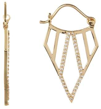 A.V. Max Pave Crystal Deco 37mm Hoop Earrings