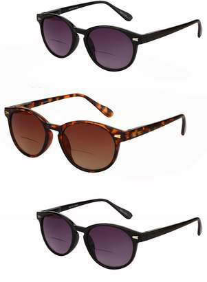 Brilliance+ Mass Vision 3 Pair of The Brilliance Unisex Bifocal Reading Sunglasses - Soft Pouches Included (, 1.5)