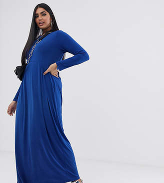 Verona Curve long sleeved jersey maxi dress with pleat in blue