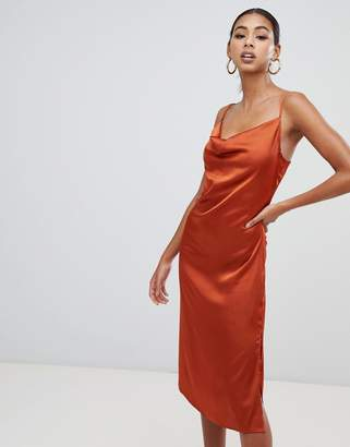 Missguided strappy cowl midi satin dress in rust