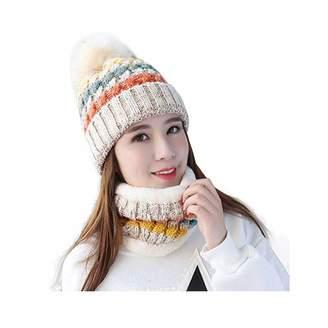 2e2dc0853a3 OPOO Womens Winter Beanie Hat Scarf Set Warm Fuzzy Knit Hat Neck Scarves  Gift Set