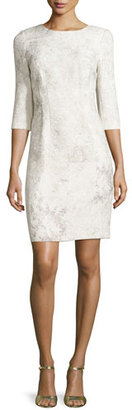 Elie Tahari Clinton 3/4-Sleeve Embossed Sheath Dress, Twine $498 thestylecure.com