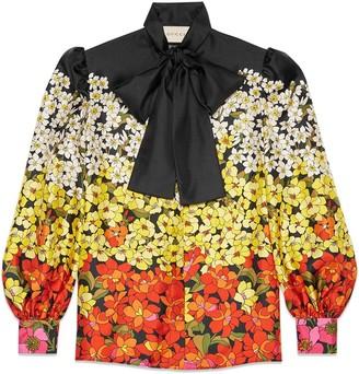 Gucci Degradé flowers silk twill shirt