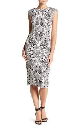 London Times Patterned Cap Sleeve Sheath Dress