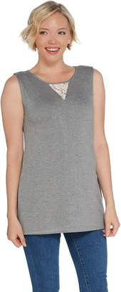 Dennis Basso Sleeveless Interlock Knit Tunic Length Tank with Lace
