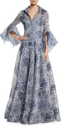 Badgley Mischka Floral Organza Striped Trumpet-Sleeve Gown