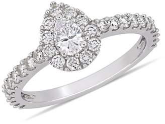 Concerto 14K White Gold Teardrop Halo 1 CT. T.W. Diamond Engagement Ring