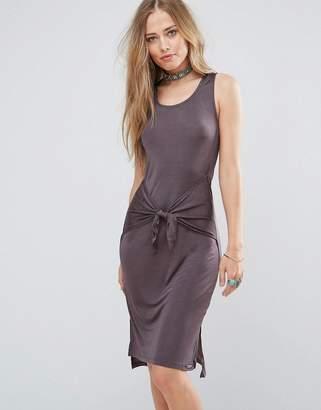 Bellfield Lizase Tie Front Split Side Midi Dress
