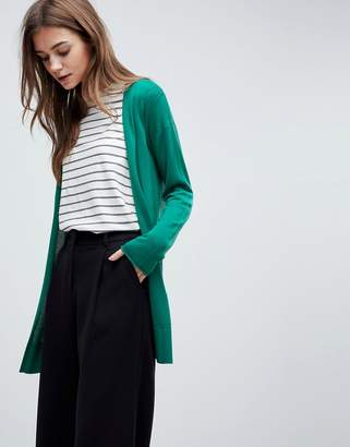 Asos Cardigan In Fine Knit With Rib Detail