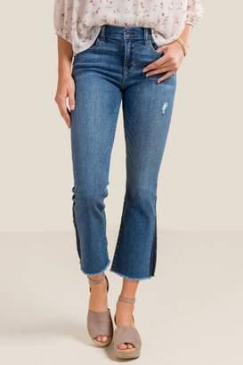 francesca's Jasper Mid Rise Cropped Flare Jeans - Medium Wash