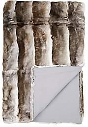 Adrienne Landau Striped Rabbit Fur Throw-Gray