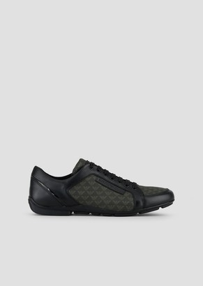 Emporio Armani All-Over Logo Leather And Pvc Sneakers
