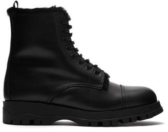 Prada Shearing Lined Leather Lace Up Ankle Boots - Womens - Black