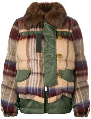 Sacai checked padded jacket