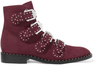 Givenchy - Studded Suede Ankle Boots - Burgundy