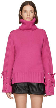 McQ Pink Lace-Up Turtleneck