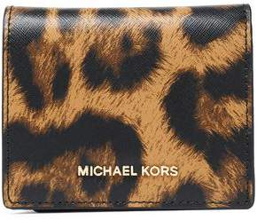 MICHAEL Michael Kors Leopard-Print Textured-Leather Wallet