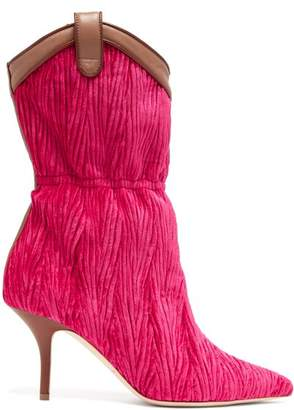 Malone Souliers By Roy Luwolt - Daisy Stiletto Heel Velvet Boots - Womens - Pink Multi