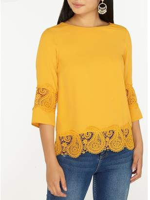 Dorothy Perkins Petite Yellow Lace Hem Top