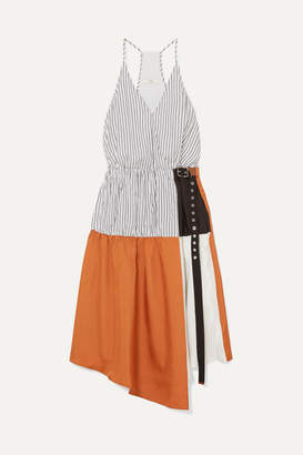 Tibi Camille Paneled Wrap-effect Tencel And Satin-twill Dress - Orange