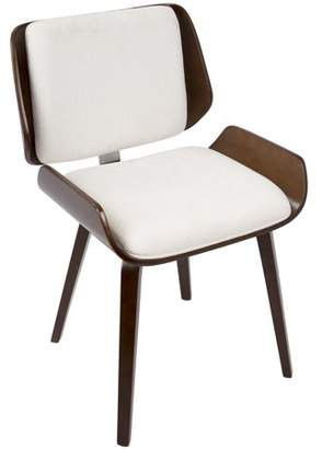 Lumisource Santi Mid-Century Modern Dining/Accent Chair in Cherry with White Fabric by Set of 2