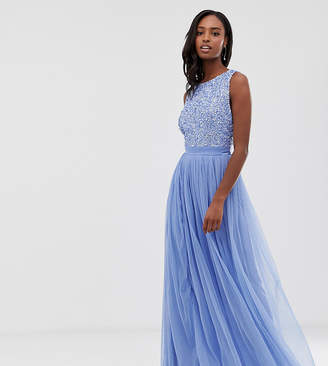 9eedcb31e1 Maya Tall delicate sequin bodice maxi dress with cross back bow detail in  bluebell