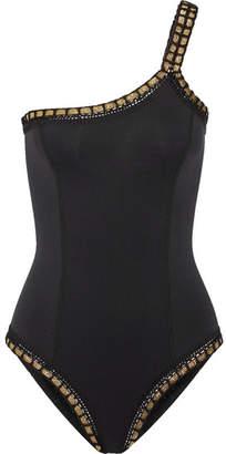Kiini Chacha One-shoulder Metallic-trimmed Swimsuit - Black