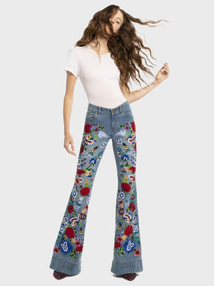 Alice + Olivia Ryley Embroidered Low Rise Bell Jean
