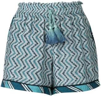 Talitha zigzag print ruched shorts