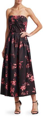 Oscar de la Renta Strapless Floral Gown