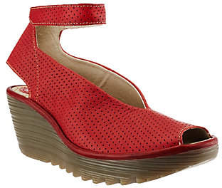 Fly London Perforated Wedge Sandals- Yala Perf