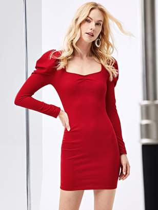 Shein Form Fitting Puff Sleeve Dress