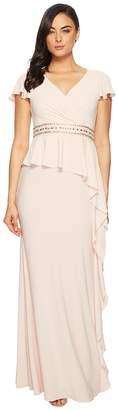 Adrianna Papell Short Sleeve Draped Jersey Gown with Beaded Waist and Asymmetrical Peplum Women's Dress