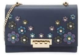 Zac Posen Earthette Floral Appliqué Leather Shoulder Bag