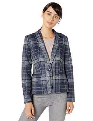 Tommy Hilfiger Women's Printed Plaid One Button Sweatshirt Blazer